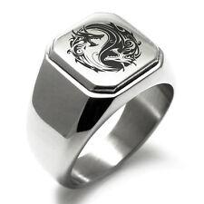 Stainless Steel Dragon Yin Yang Symbol Mens Square Biker Style Signet Ring