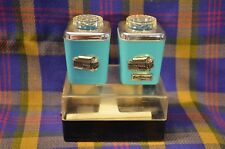 Vtg 1950s Turquoise Hard Plastic S&P Shakers Souvenir Cable Cars San Francisco