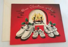 Vintage Christmas Card Fuzzy Slippers By A Roaring Fire Place
