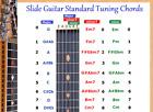SLIDE GUITAR STANDARD TUNING CHORD CHART FOR 6 STRING LAP STEEL DOBRO GUITAR for sale