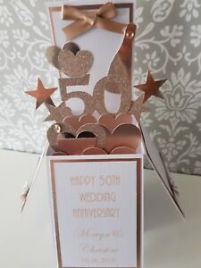 Handmade Personalised 50th Golden Wedding Anniversary Pop Up Card,Rose Gold,NEW!