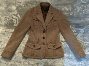 Womens Banana Republic Blazer Size 4 Brown Wool Fully Lined Button Closure