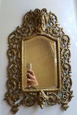 Antique Cast Iron Gold Gilt Ornate Rococo Mirror Gothic Demon at top