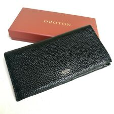 OROTON Wallet Purse Multipocket Zip Large Clutch Black Leather