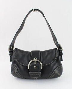 Coach Women's Black Leather Small Flap Soho Handbag Shoulder Bag