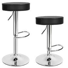 2 Tabourets de bar chaise fauteuil bistrot réglable pivotant siège ronde noir