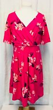 Lands' End Dress Crossover Style Fit And Flare Size 10/12 Pink