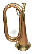"""Vintage Copper And Brass Bugle Charge Horn Military Boy Scout 9.75"""""""
