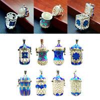 Vintage Essential Oil Diffuser Perfume Enamel Hollow Lockets Mini Pendant
