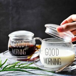 Breakfast Milk Cup Heat-resistant Cute Office Coffee Glass Cup With Lid Creative