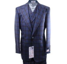NEW Tiglio New Rosso Blue W/ Rust Plaid 3pc Italian Suit 48 Long Msrp $499