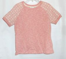 Women's D & Co Short Sleeve Sweatshirt Active Small Pink & White Embroidered