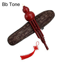 Chinese Hulusi Wooden Gourd Cucurbit Flute Bb C Yunnan Ethnic Instrument w/Case