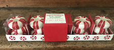 WILLIAMS SONOMA CHRISTMAS PEPPERMINT CANDY TINY TAPER HOLDERS SET OF 4 NIP