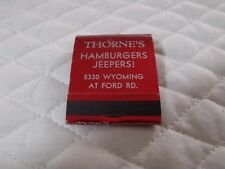 VINTAGE ADVERTISING MATCHBOOK THORNE'S HAMBURGERS, OREGON UNUSED