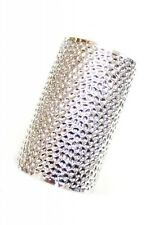 "3.80"" wide silver hammered bracelet bangle cuff"