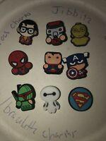 Super Heros Lot Of 9 Shoe,Bracelet ,Lace Adapter Charms,Superman & more Fit Croc