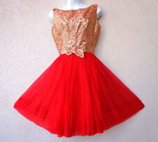 Vintage 1950s Cocktail PARTY DRESS Holiday Red Silk Chiffon FULL Skirt Brocade M
