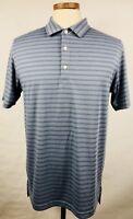 L37 DUNNING GOLF Polo Shirt Men Medium Green Stripes Short Sleeve Athletic