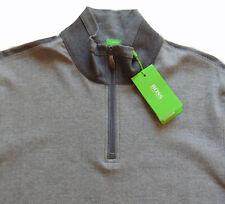 Men's HUGO BOSS Gray Herringbone Zip Pullover Sweater L Large NWT NEW $165