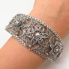 """925 Sterling Silver Filigree Floral Design Wide Cuff Bracelet 7.5"""""""