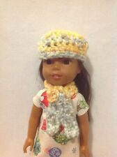 Wellie Wishers Yellow Blue Red Hat beanie & scarf winter 14 doll clothes outfit