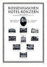 Hotel Kossenhaschen XL Reklame 1929 Magdeburg Gotha Erfurt Chemnitz Kaiserhof