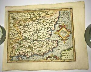 ENGLAND SOUTHEAST 1613 MERCATOR / HONDIUS ATLAS MINOR NICE ANTIQUE MAP