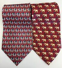 Rene Chagal Republican Elephant 100% Silk Neckties Men's Tie Lot Of 2