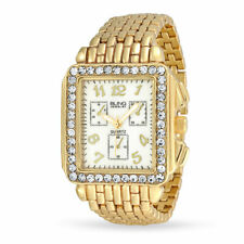 Crystal Rectangle Dial Metal Panther Link Wristwatch Gold Stainless Steel Quartz