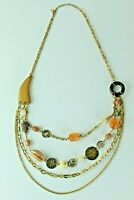 Necklace Layered Multi Strand Gemstone Wood Sharks Tooth Tribal Boho Hippie