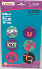 NEW Michaels/Creatology 6PC ROCK BND/CASETTE/RADIO/GUITAR/HEADSET PIN BUTTON SET