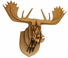 WOODEN PLAIN MDF MOOSE DEER STAG HEAD 3D CRAFT CONTEMPORARY DIY PAINT DECORATE