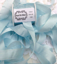 "100%PURE SILK RIBBON 1/2""[13MM] WIDE10YD SPOOL PASTEL/BLUE COLOR"