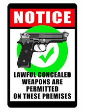 Conceal Carry Security SIGN.No Rust Aluminum High Gloss Full Color Custom Sign