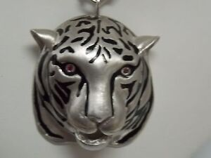 Silver Plated Tiger Head Pendant with Silver Chain Black Enamel Red Eye