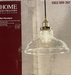 Home Decorators Collection Lt Dark Bronze Pendant Clear Glass Shade New in box