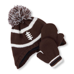 The Children's Place Football Pom Pom Hat And Mitten Set Size S 12-24 Months