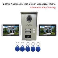 "2 Units Apartment intercom 7"" Video Door Phone doorbell Kits with 5-RFID Keyfobs"