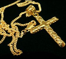 """Men's yellow gold filled cross pendant and curb link chain necklace 24"""" gift /UK"""