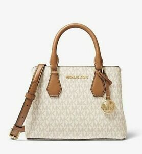 $328 MK MICHAEL KORS Camille Small Logo and Leather Satchel, NWT!