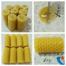 8pcs Natural Beeswax Candles Handmade Honey Scented Rolled Bee Wax Pillar Candle