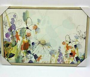 Floral Canvas Orange Framed Butterflies Flowers Beautiful Print Home Modern New