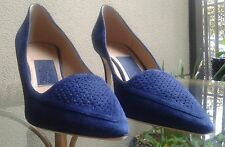 FERRAGAMO Suede Pointed Toe Pumps. EU 10  US 9.5