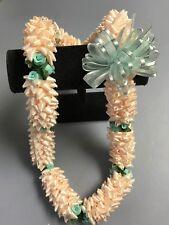Hawaiian Ivory Colored Ribbon Pikake Lei Mint Green Rosebud Luau Gift