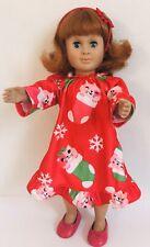 Vtg 1998 Red Haired Blue Eyes Battat Girl Doll W/Christmas Cat Pjs