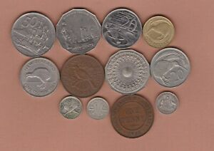 12 COINS FROM NEW ZEALAND & AUSTRALIA 1910 TO 2008 IN FINE OR BETTER CONDITION