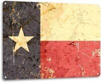 Texas Flag Lone Star State Rustic Patriotic Garage Bar Decor Large Metal Sign