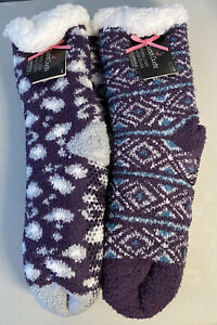 NWT 2 PAIR CUDDL DUDS WOMEN'S SHERPA LINED LOUNGE SOCKS WITH PLUSHFILL PURPLE