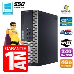 PC Dell 7010 SFF Intel I3-2120 RAM 4Go Disque 240Go SSD DVD Wifi W7
